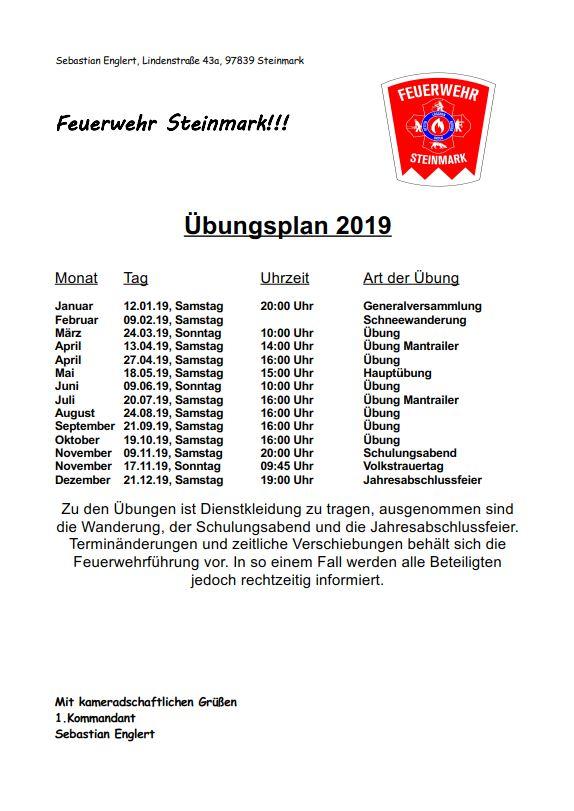 Übungsplan 2019, Feuerwehr Steinmark