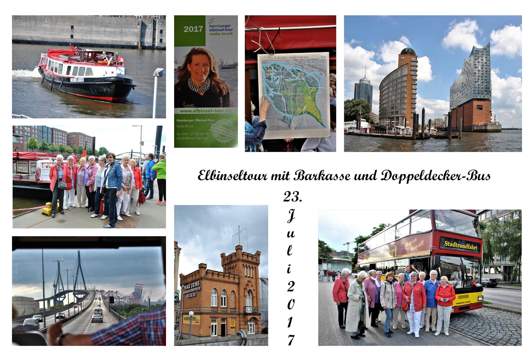 NeNo/Glashütte 2: Elbinseltour mit Barkasse und Doppeldecker-Bus, 23.07.2017 (Fotos: Tom)