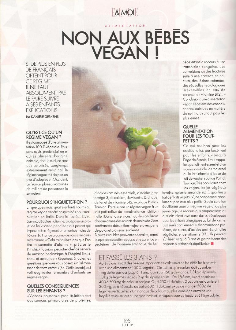 non aux bébé vegan Elle
