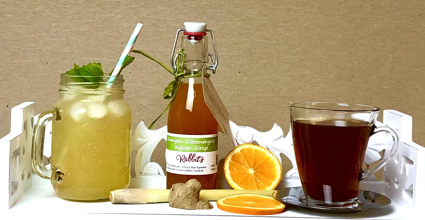Orangen-Ingwer Sirup auch im Tee, lecker :)