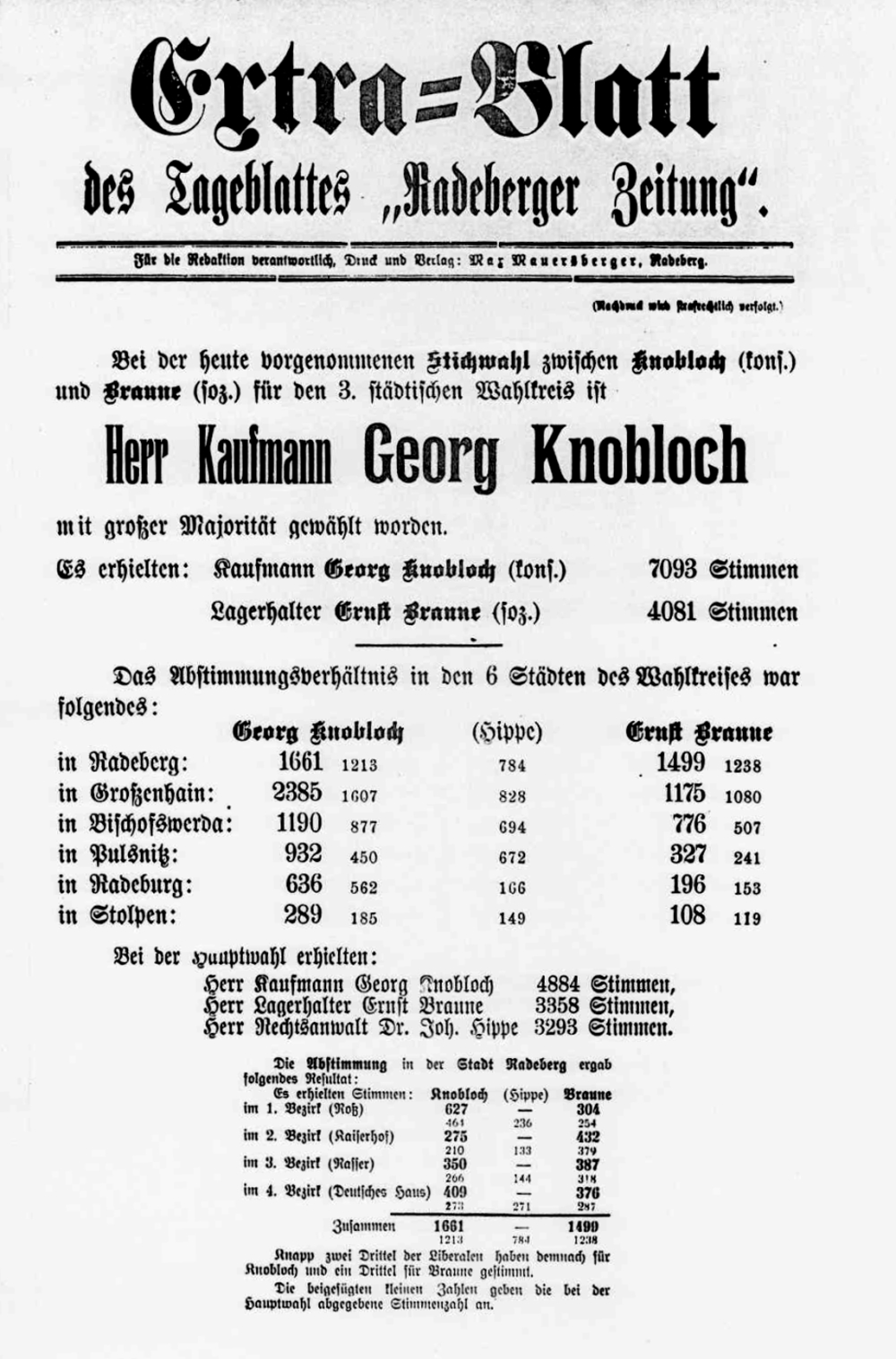 Georg Knobloch gewinnt gegen Ernst Braune: Extrablatt Radeberger Zeitung v. 2.11.1909