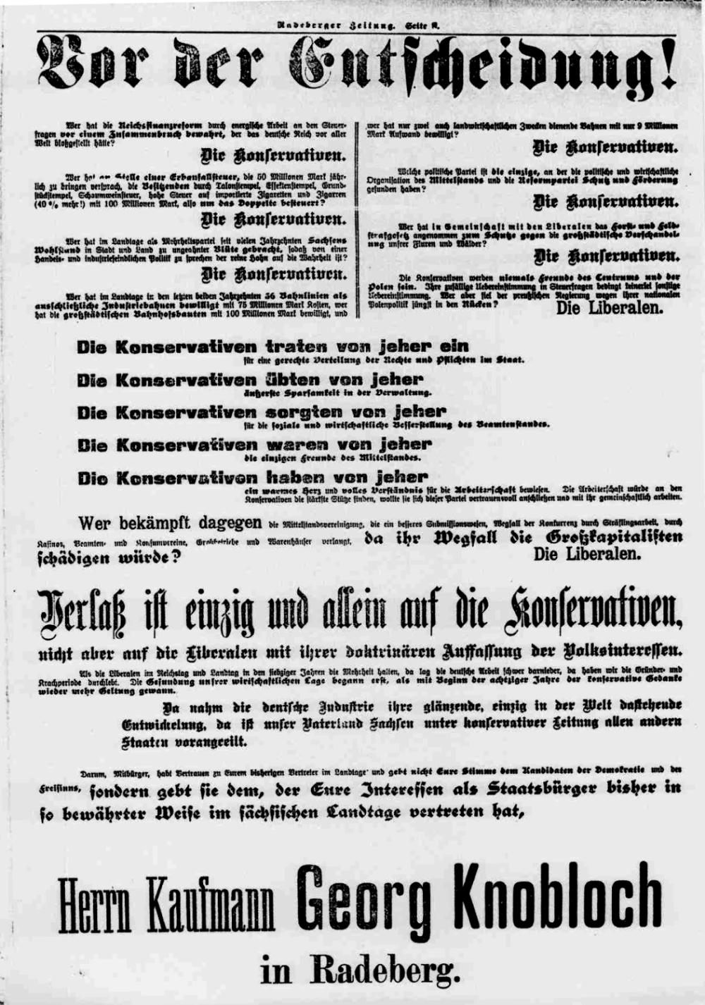 Georg Knobloch im Wahlkampf 1909: Radeberger Zeitung v. 17.10.1909