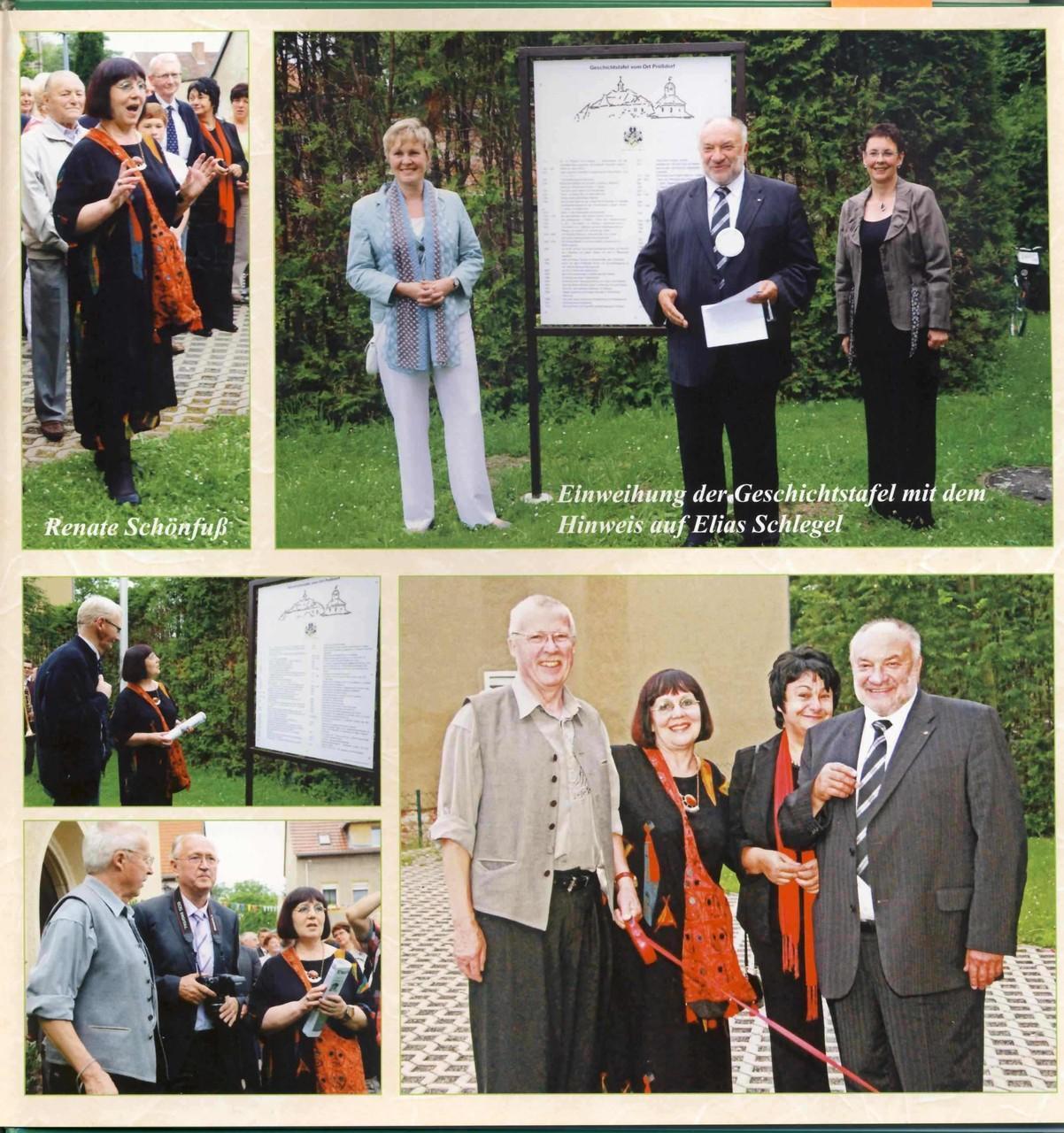 """Prößdorf 600 Jahr-Feier 2013; Festbuch: Seite """"Geschichtstafel Einweihung"""""""