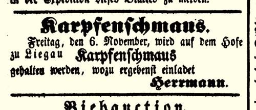 """Anzeige vom Rittergutsbesitzer Herrmann im """"Wochen-blatt für Radeberg und Umgebung"""" vom 31.10.1846"""