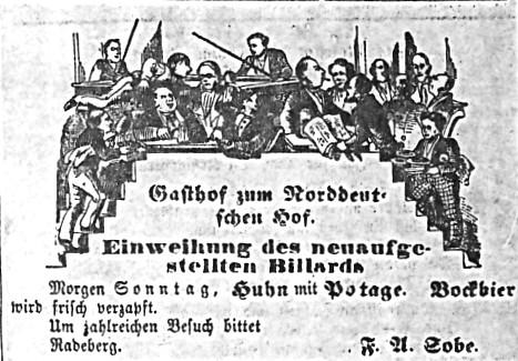 """Einweihungs-Anzeige Billard-Zimmer;  """"Das Echo"""" vom  14.12.1867"""
