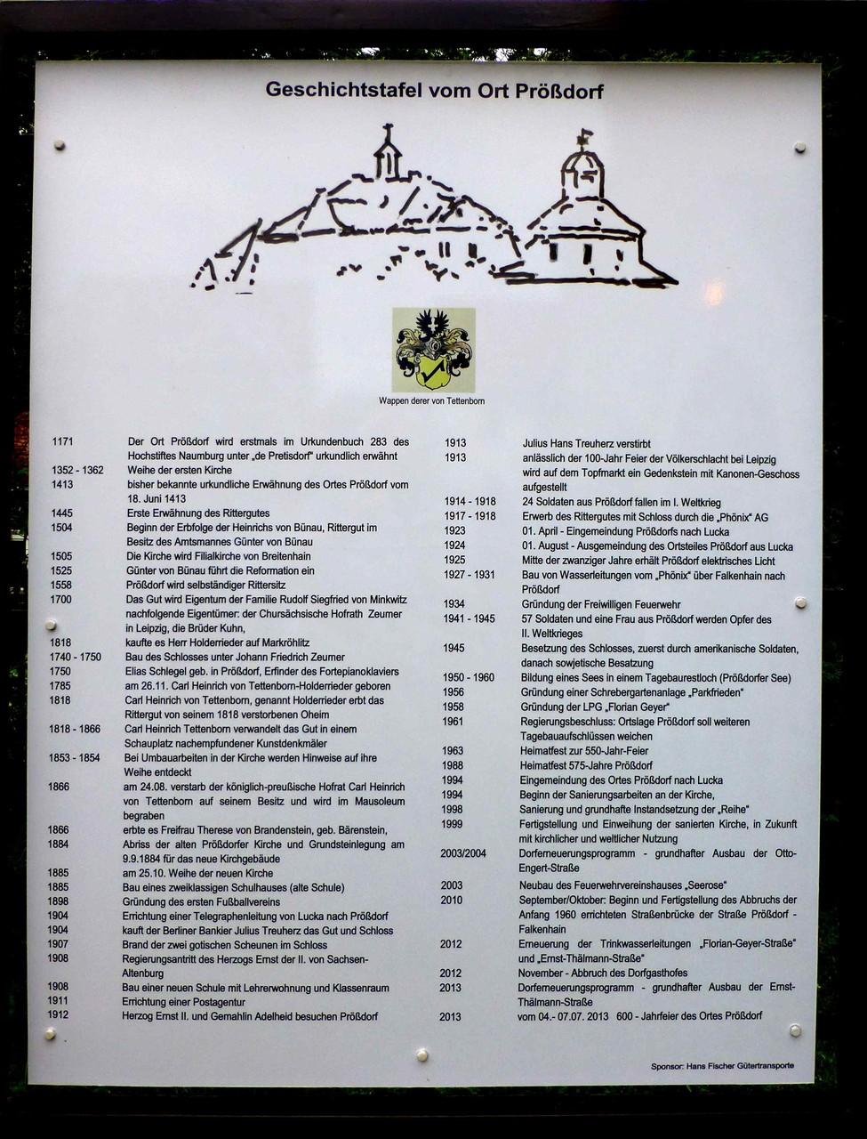 Prößdorf 600 Jahr-Feier 2013; Geschichtstafel Einweihung 4