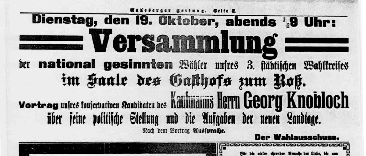 Georg Knobloch im Wahlkampf 1909: Radeberger Zeitung v. 19.10.1909