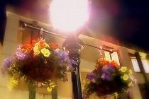 神戸市北野町、異人館が並ぶ地域は街灯までおしゃれです。ハンギングフラワーで飾られた街灯。