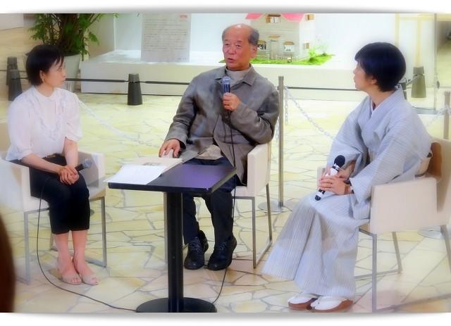 染色家の吉岡幸雄先生・工芸クリエイターの田中敦子さん・ 昴-KYOTO-オーナー永松仁美さん。大阪梅田でのトークイベント。