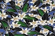 白納戸色の古代縮緬に、杜鵑草模様を染めた名古屋帯。浦野理一作。