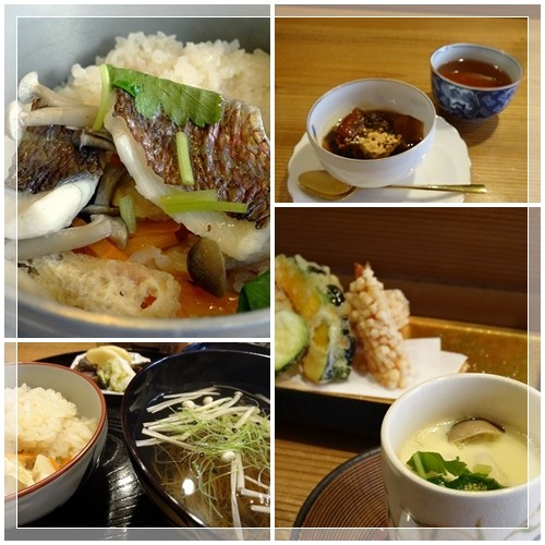 宝塚南口「ささ田」さんの釜めし。鯛の釜めし・沢煮椀・茶わん蒸し・香の物・てんぷら・デザートのセットです。