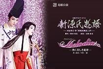 宝塚花組公演「新源氏物語」のポスター。藤の花の中、明日海りおさんの美しい源氏と藤壺。