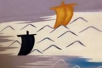 尾形乾山5枚組皿より図案を取った訪問着の柄。藤色の地色に浮かぶ帆掛け船と、ゆったりとした波。