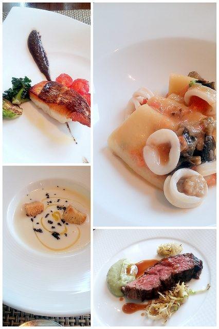 セントレジスホテル大阪「ラベリュータ」のランチ。スープ・パスタ・お魚料理・お肉料理のフルコースです。