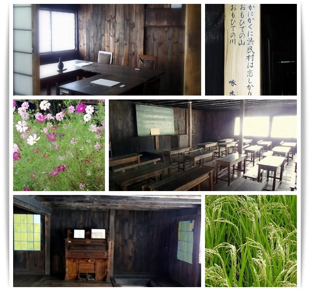 旧渋民尋常小学校の校舎。風の又三郎の世界に迷い込んだようです。白い紙が置かれているのは教員室の啄木席。