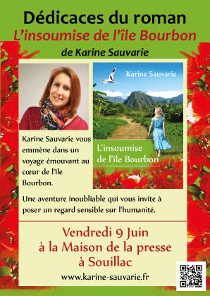 """Création de flyers promotionnels pour le roman """"L'insoumise de l'île Bourbon"""" de Karine Sauvarie"""