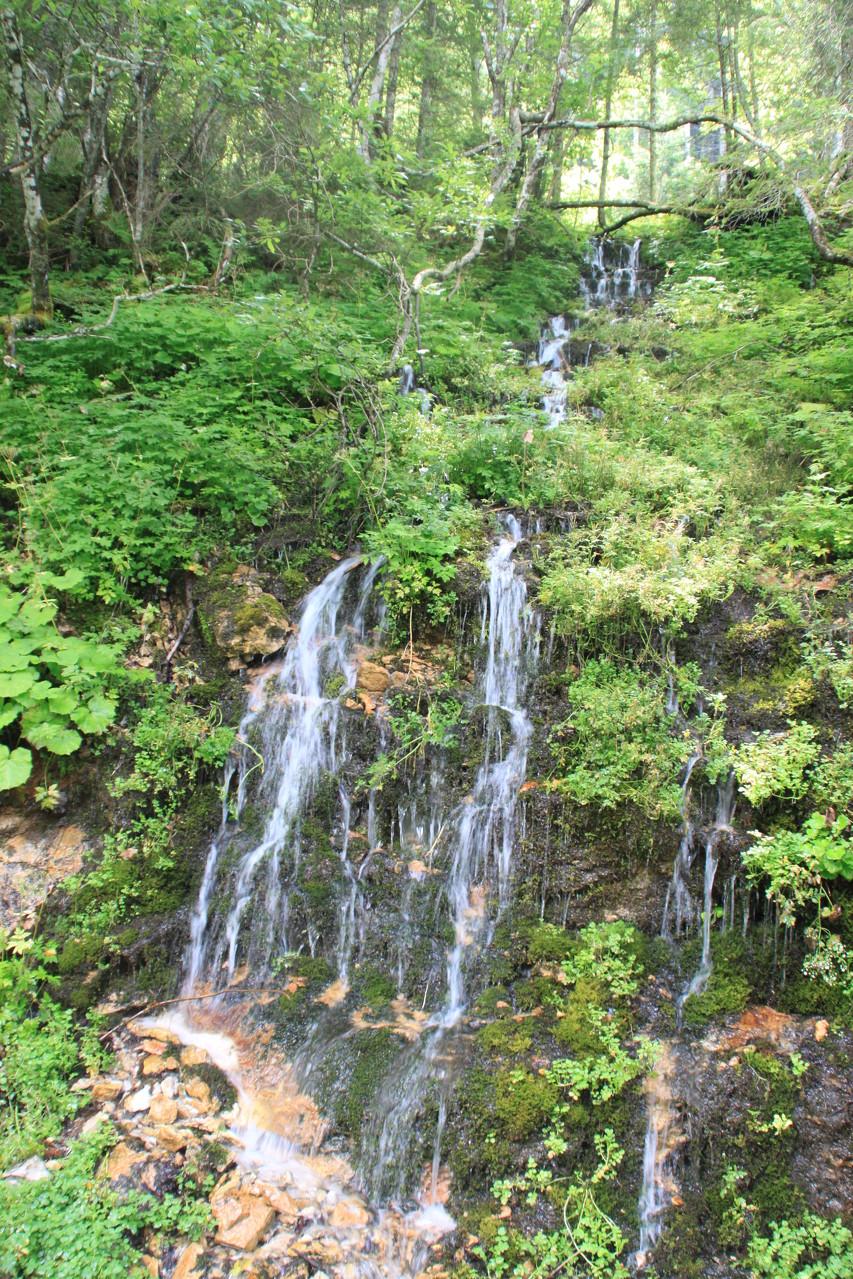 da Wasser scheint hier überall vom Berg zu fließen