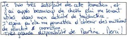 Carole D., (Territoire de Belfort), formation correcteur, mai 2014.