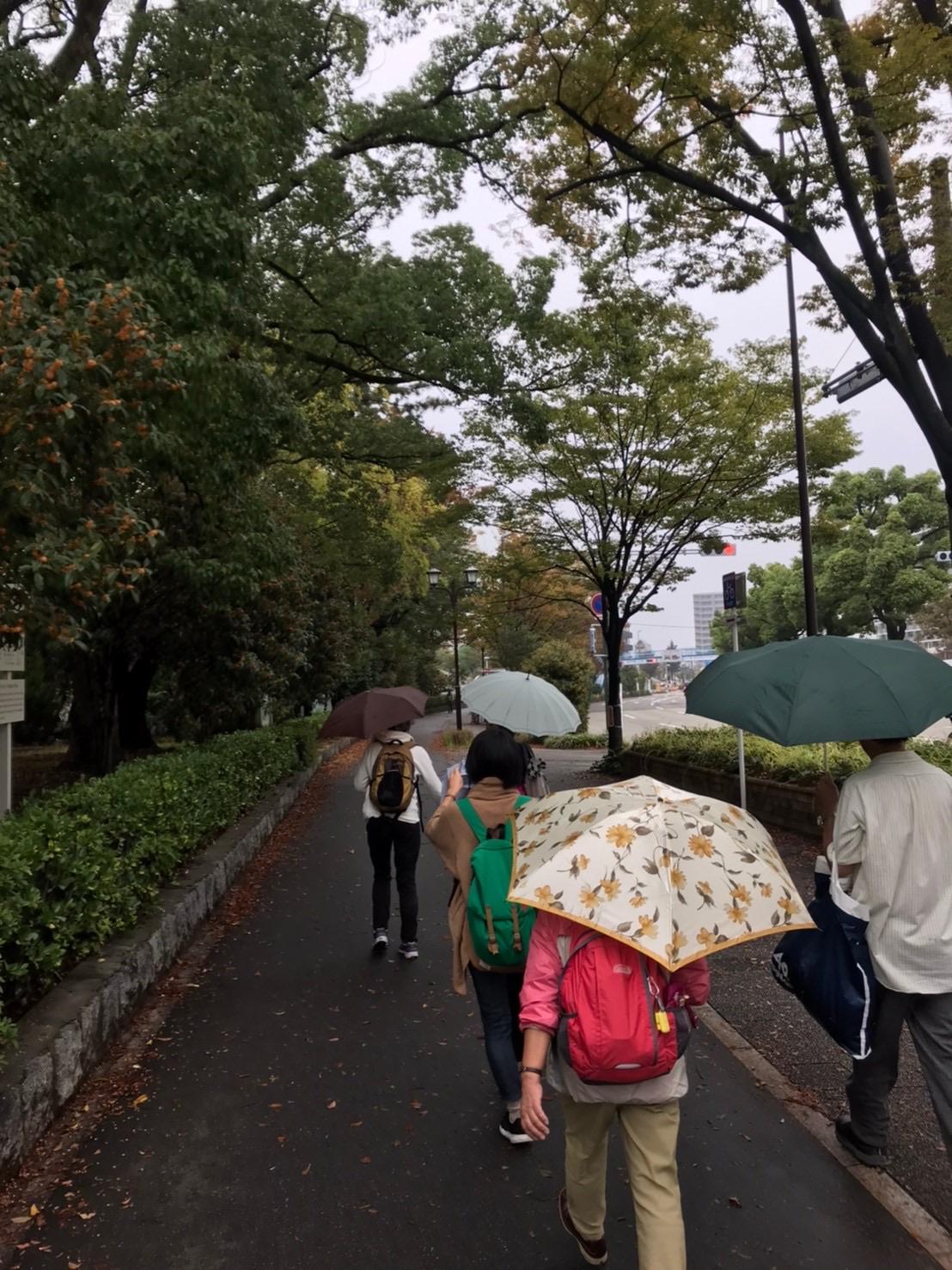 小雨が降る中傘をさしてLet's Walk♪