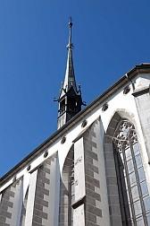 Klosterkirche Köngisfelden von aussen aus der Froschperspektive.
