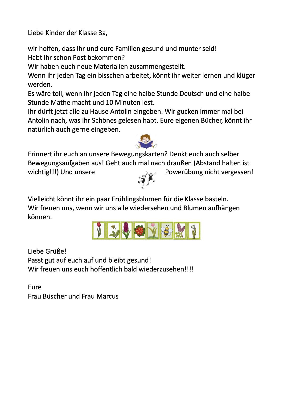 Brief für die Klasse 3a
