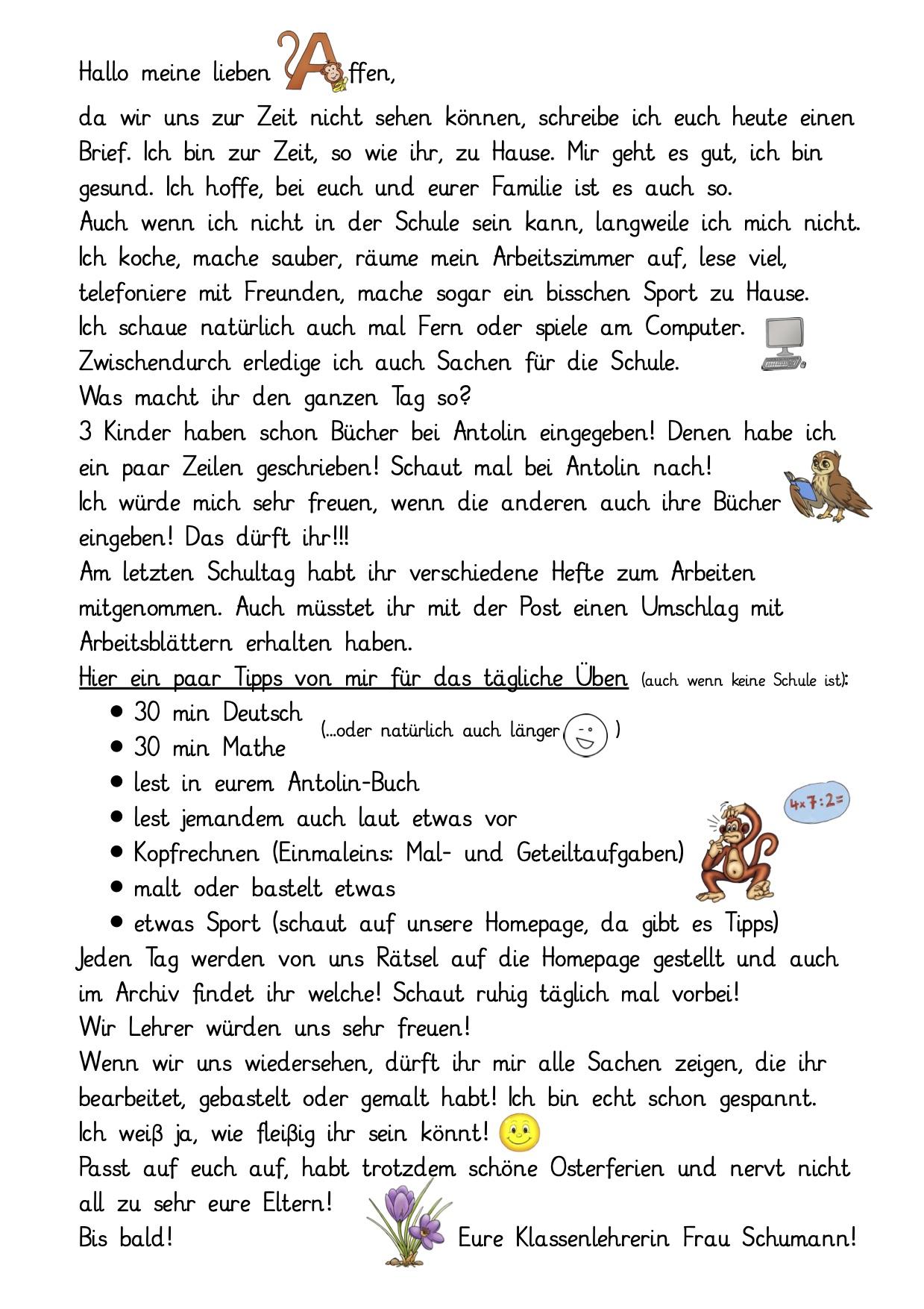 Brief für die Klasse 3b