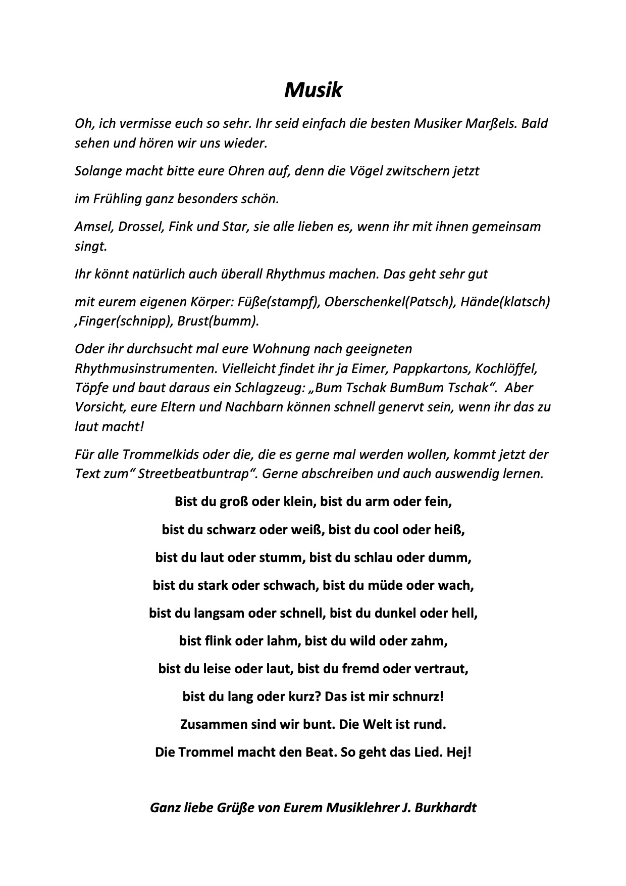 Brief für alle von Herrn Burkhardt