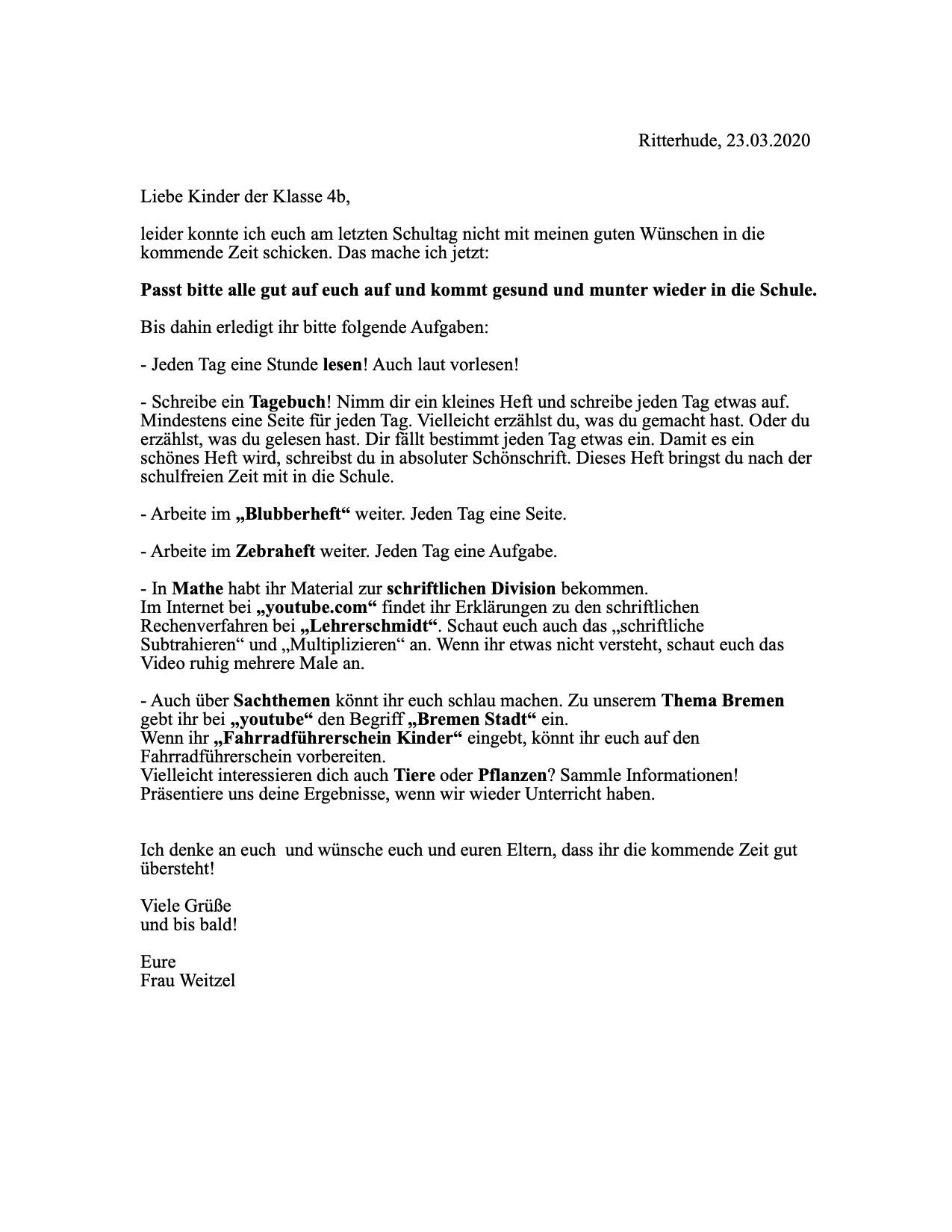 Brief für die Klasse 4b
