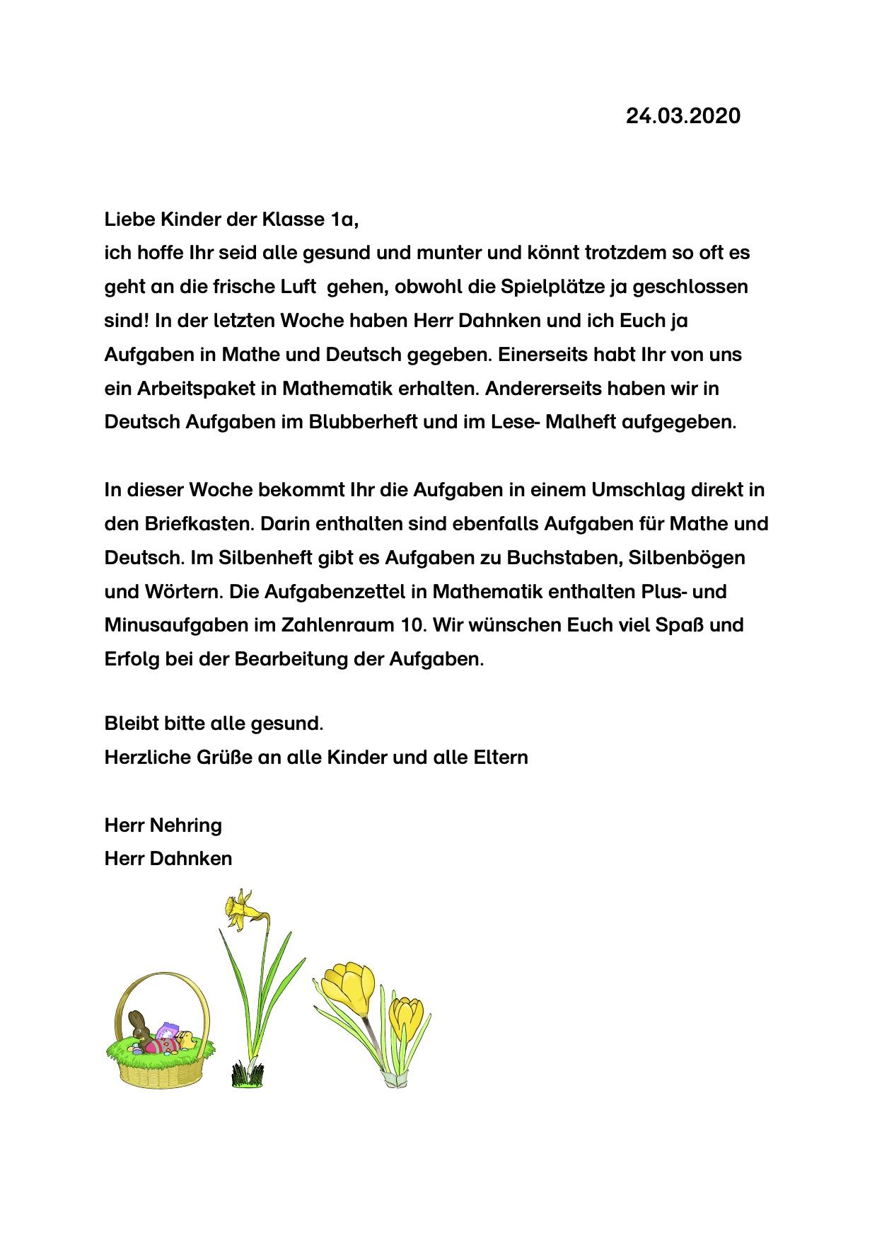 Brief für die Klasse 1a