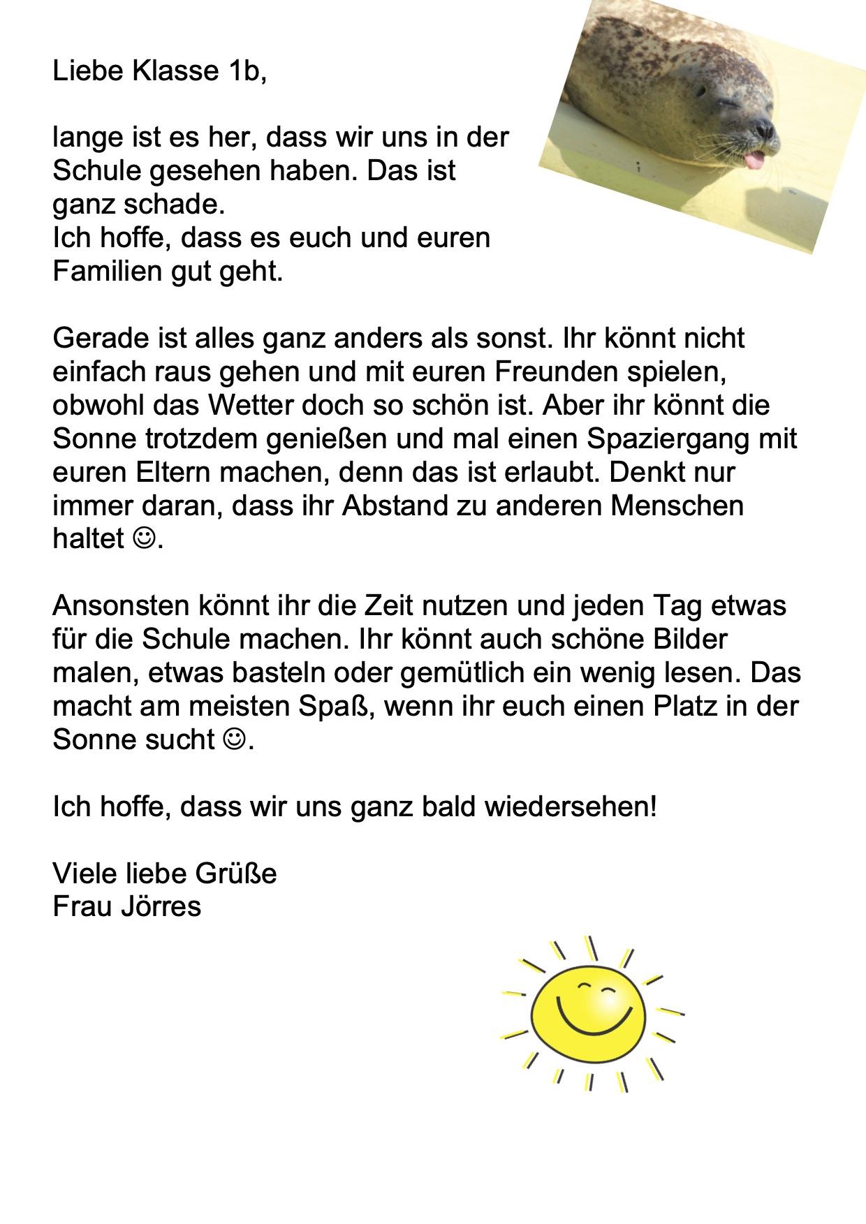 Brief für die Klasse 1b