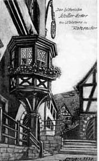"""Schiller-Erker im Gasthaus Waldhorn - Auch Eduard Mörike besuchte 1861 das Gasthaus zum Waldhorn. Seine Frau beschreibt später in einem Brief an ihre Schwägerin den """"freundlichen Erker"""" und die """"herrliche Aussicht ins Grüne""""."""