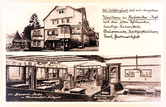 Gasthaus Waldhorn mit Schiller-Erker sowie Bauernstube Ende 19. Jahrhundert.