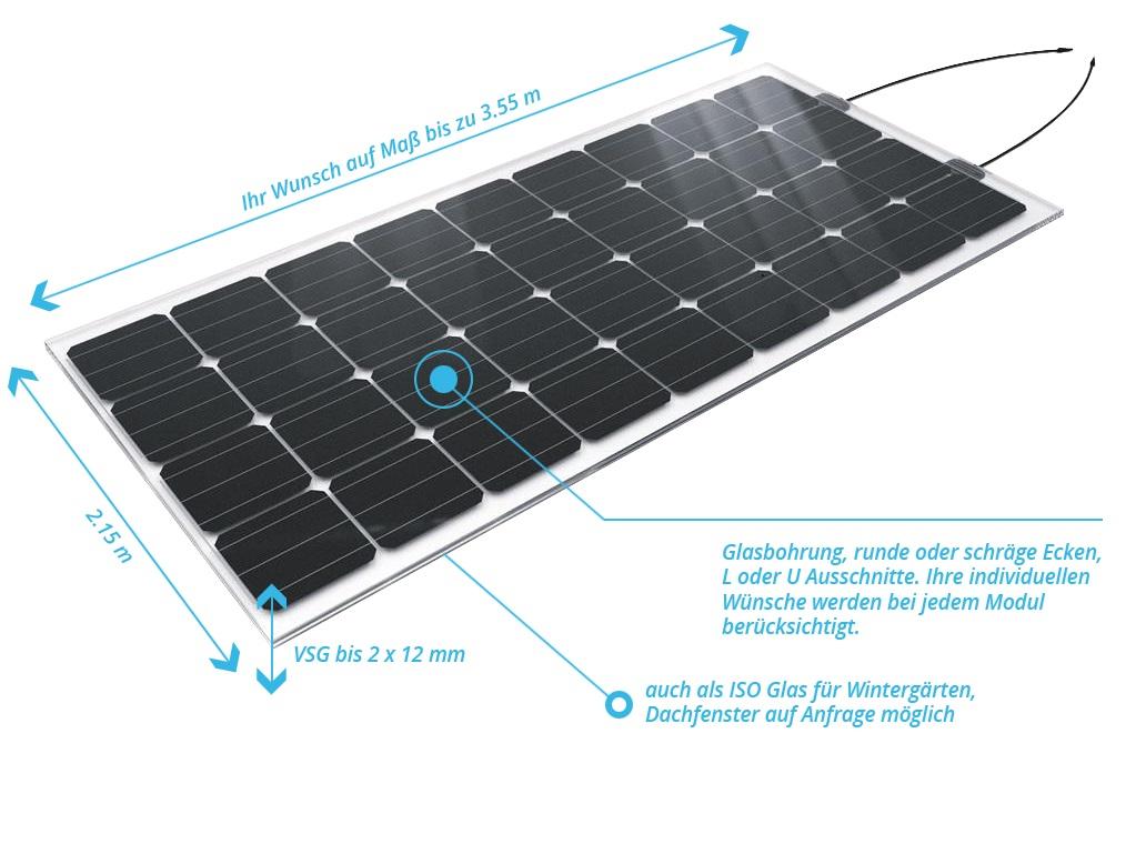 Glas-Glas Solarmodul bis zu 1300 Watt