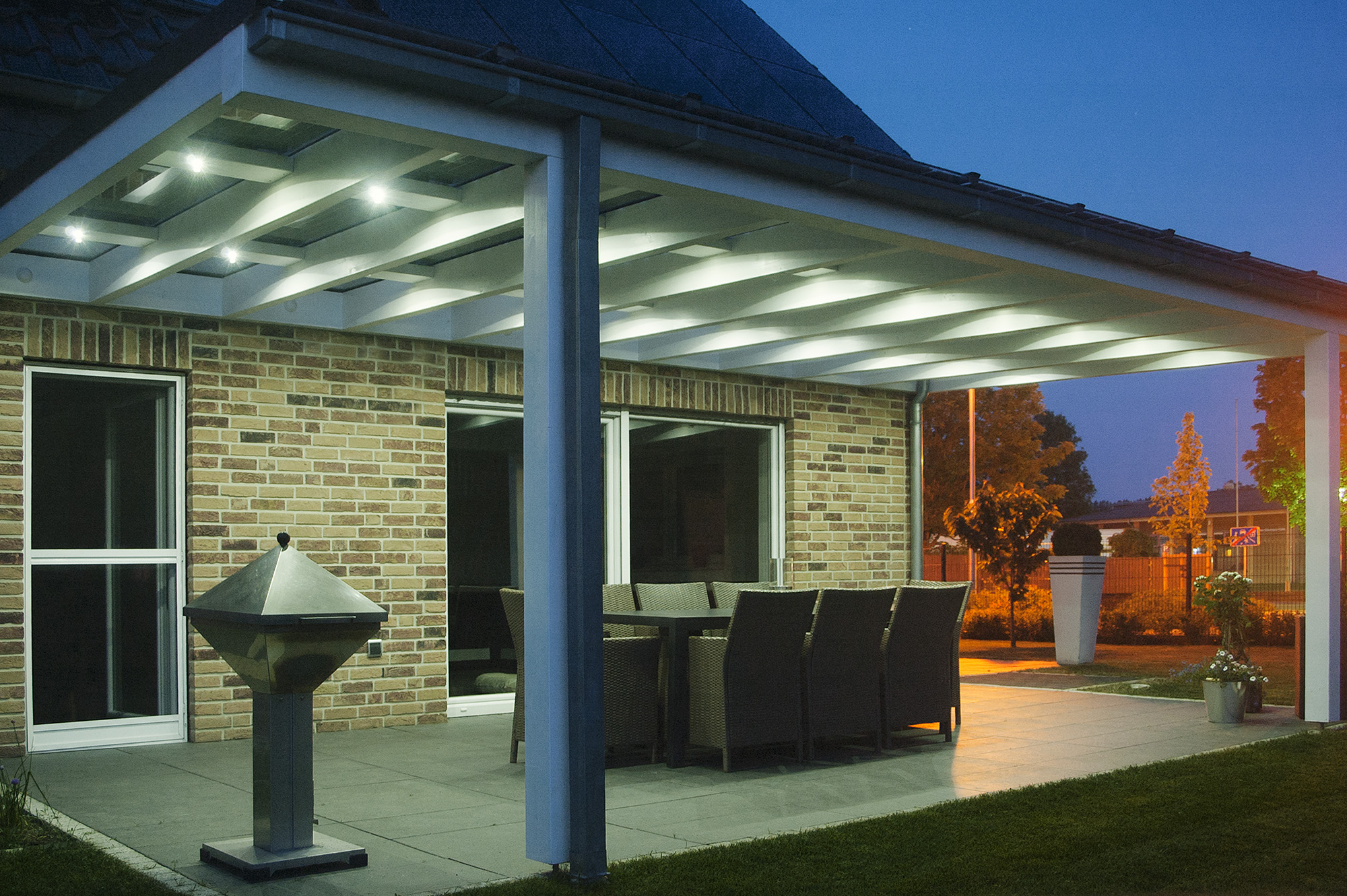 Patio roof with LED