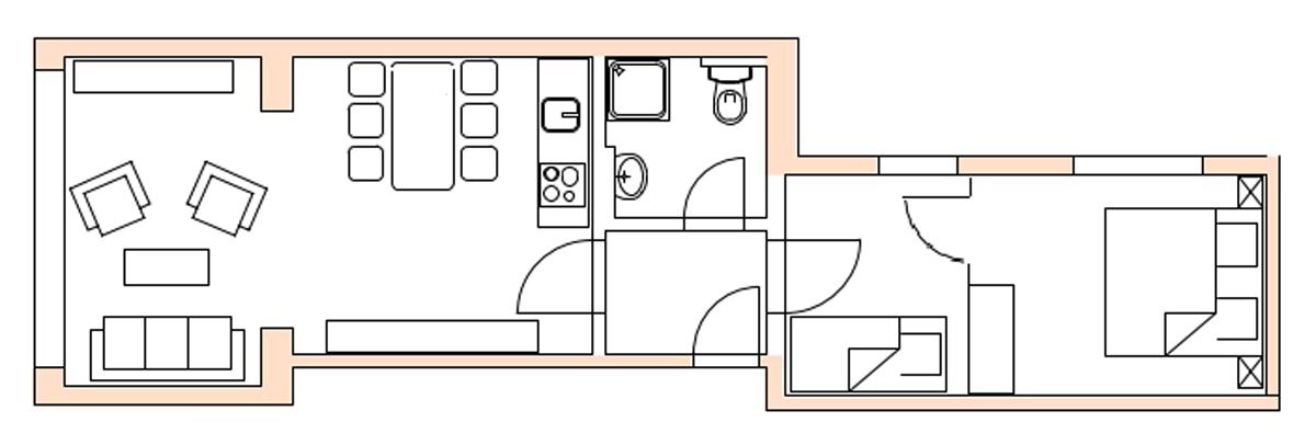 Grundriss Loft A im Strandloft 2 auf Norderney © copyright ferienwohnungen-norderney-ferienhaus.de
