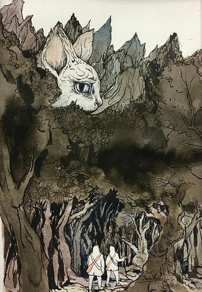 「森」A4サイズ、紙にインク 原太一作