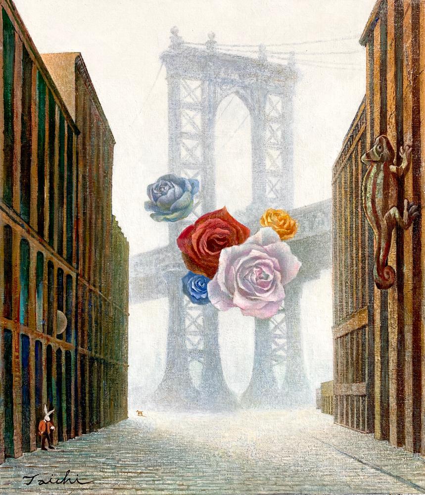 出品予定作品「朝の待ち合わせ」10Fキャンバスに油彩