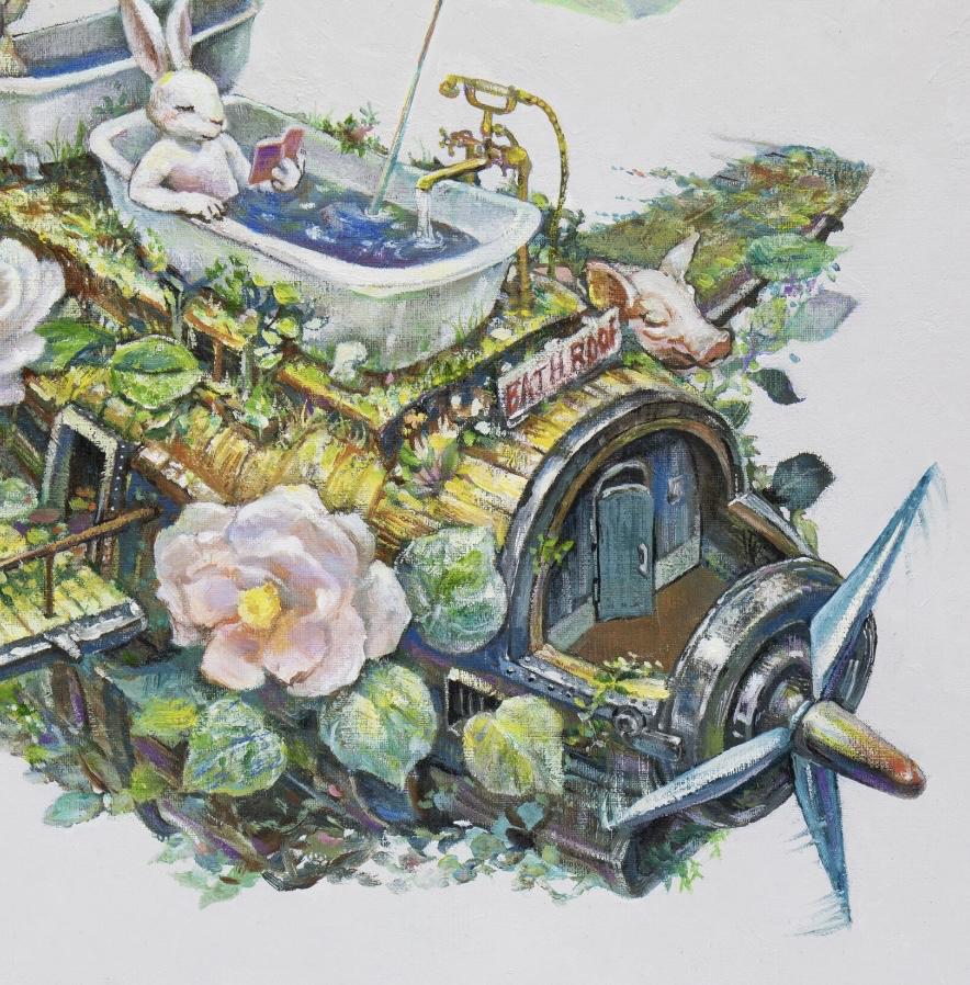 「ギアスの空想博物誌#1 BATH ROOF号」(部分)油彩、原太一作