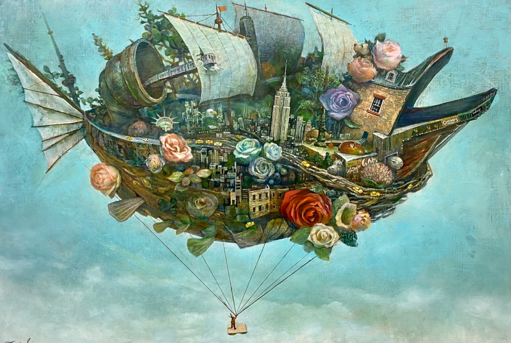 ↑この作品の制作過程の動画です「ニューヨークに花束を」P50号、原太一作、キャンバスに油彩