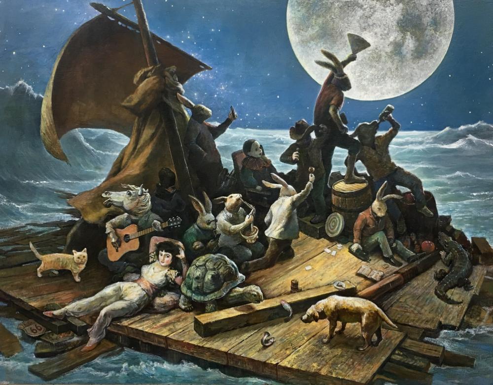 「今夜は祭り」F50、パネルに油彩、2018年制作、笠間日動美術館所蔵