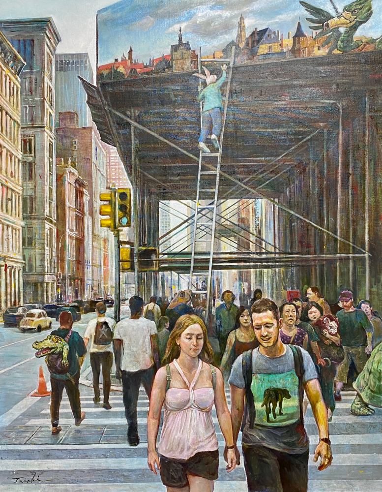 「昨日に架ける橋」F50 キャンバスにオイル、油彩、2021年制作(作品上部、光の反射が写り込んでしまいました。後に画像を差し替えます)