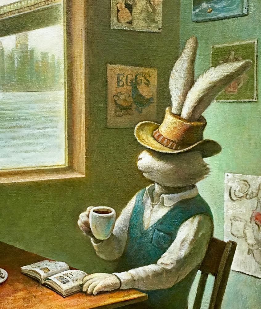 「リバーサイド・カフェ」(部分図)F10、キャンバスに油彩、2019