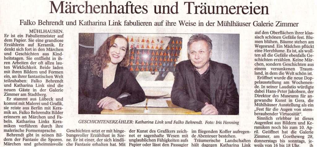 Galerie Zimmer, Falko Behrendt, Keramikausstellung, Mühlhausen, Katharina Link, Keramik, Ausstellung