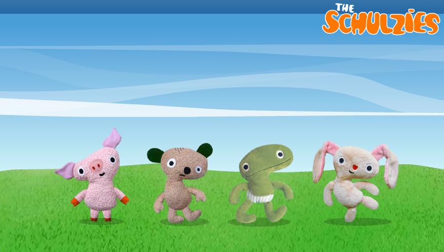 Designer Toys The Schulzies, die Plüschfiguren zum Verlieben von Frank Schulz Art, Handmade in Bavaria, Schwein, Depri, Frosch und Hase