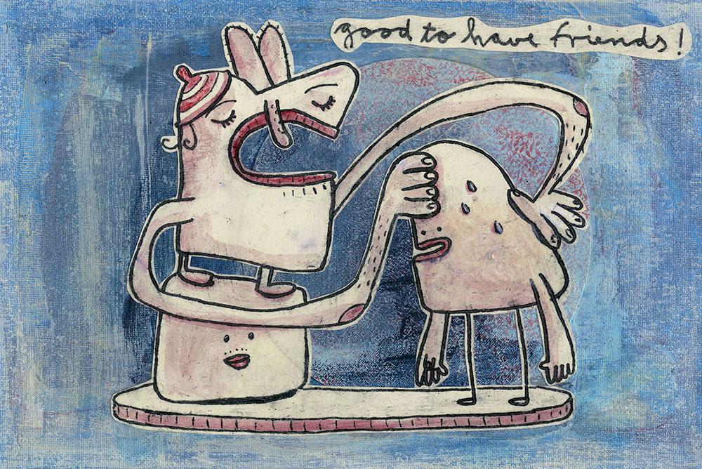 Zeichnung von drei freundschaftlichen Kreaturen