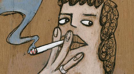 Acrylgemälde einer rauchenden Frau gemalt auf einer Zigarrenkiste