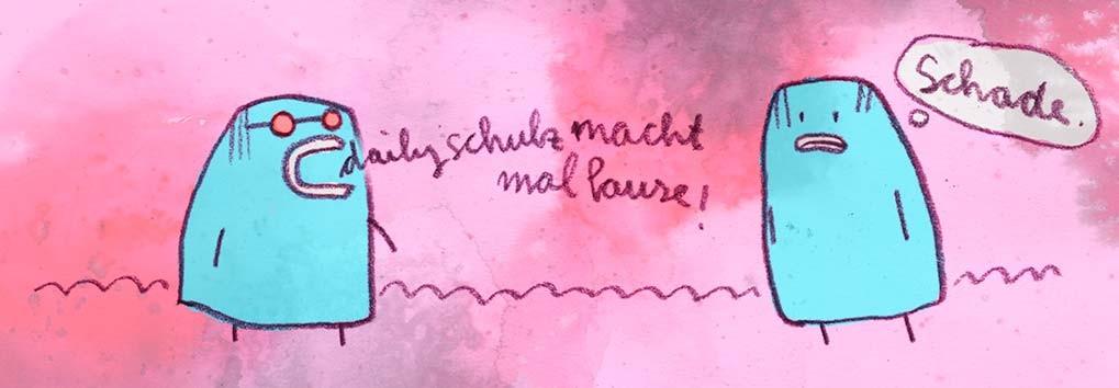 Thema Pause machen, Digital kolorierte Zeichnung von Frank Schulz Art