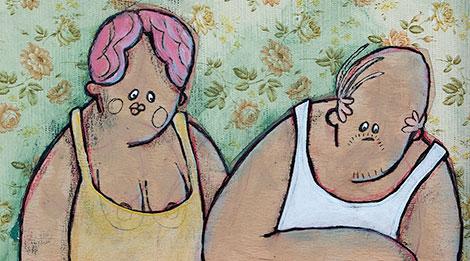 Als Acrylbild umgesetzte Illustration von einem dicken Paar als Nachbarn am Fenster