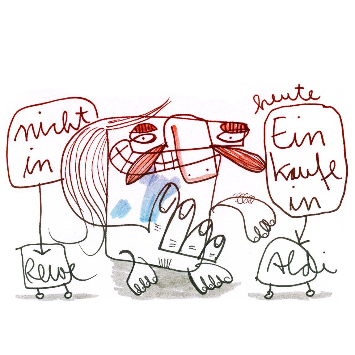 Skizze Einkaufstipp nicht Rewe sondern Aldi, Zeichnung mit Tusche von Frank Schulz Art, zeigt einen kleinen Comic Mann beim Einkauf