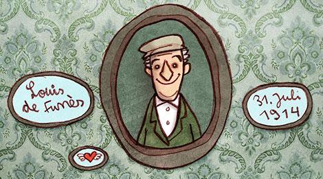 Karikatur des Schauspielers Louis de Funès